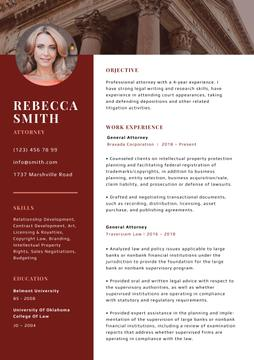 Professional Attorney skills and experience in red
