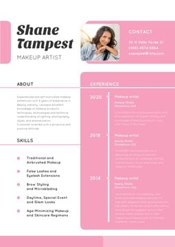 Makeup artist skills and experience