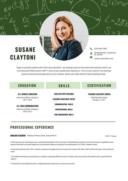 English Teacher professional skills and experience