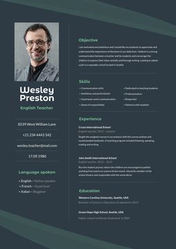 English Teacher professional profile