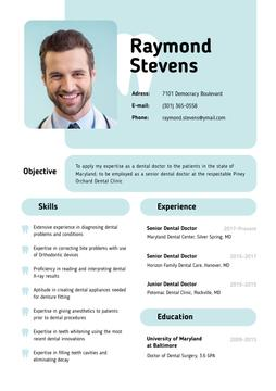 Dental Doctor skills and experience