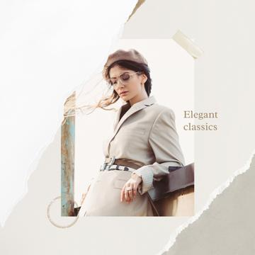 Fashion Ad Elegant Woman in Light Clothes
