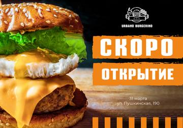 Restaurant Opening Annoucement with tasty Burger