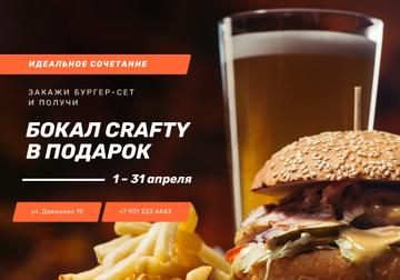 Special Fast Food Offer with burger and beer