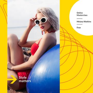 Style Masterclass announcement with Woman in Bikini