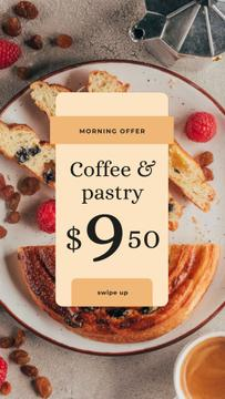 Cafe Promotion Coffee and Pastry on Table