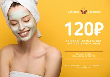 Cosmetics Offer with Woman in Skincare Mask