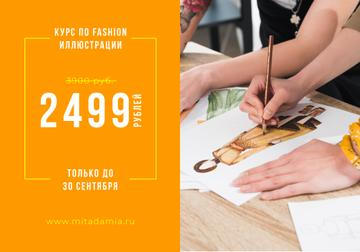 Fashion Illustration Courses Ad with artist drawing