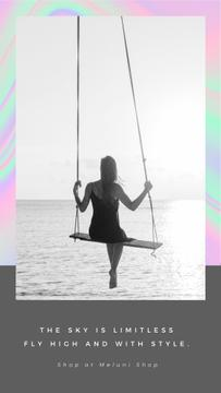 Fashion Ad with Girl on swing by the Ocean
