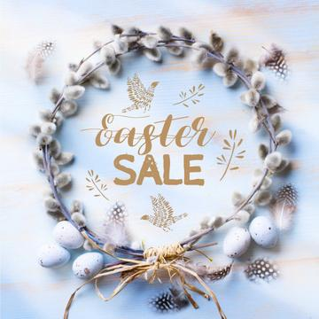 Easter Greeting with willow wreath