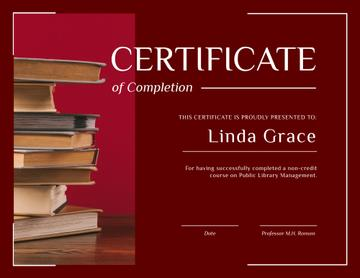 Library Educational Program Completion with books in red