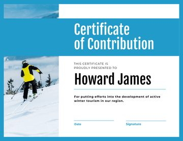 Winter Tourism Contribution gratitude with Skier in mountains