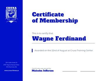 Training Club Membership confirmation in blue