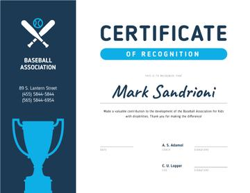 Baseball Association Recognition with cup in blue