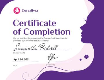 Beauty Academy Courses Completion confirmation