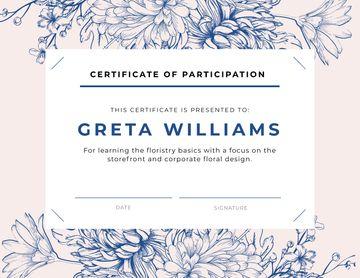 Florist courses Participation confirmation in blue