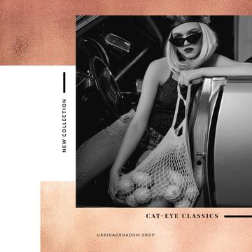 Fashion collection Ad with Stylish Woman in car