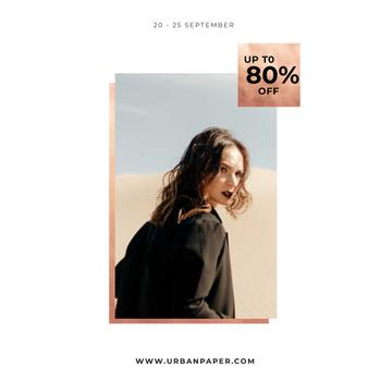 Special Fashion Sale with Woman in black coat