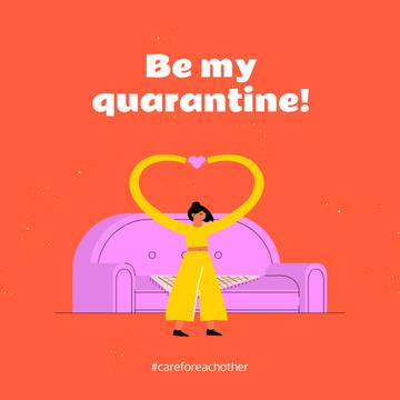 Quarantine concept with Woman Showing Heart by sofa