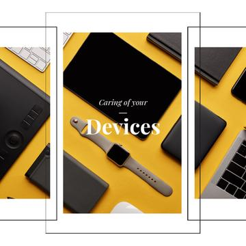 Smart Watch and Digital Devices in Yellow