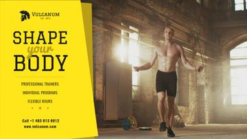 Sports Inspiration with Man jumping on Skipping Rope