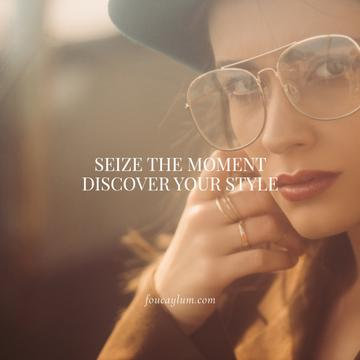 Fashion Quote with Stylish Woman in Vintage Outfit