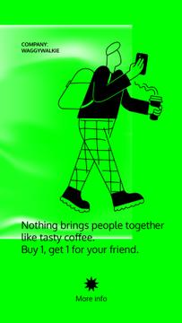 Coffee To-Go Service ad with Man holding cup and phone