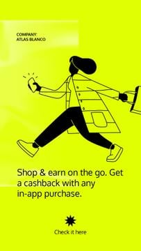 Cashback Services ad with Woman holding Phone