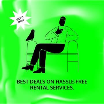 Rental Services Sale with Man and Bird