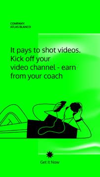 Video Blog Platform promotion with Man in Headphones