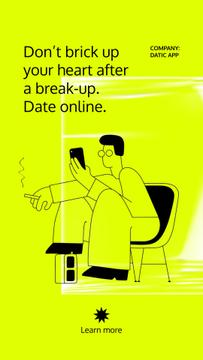 Online Dating App promotion with Man using Phone
