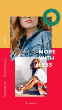 Fashion Store ad with Happy young Woman