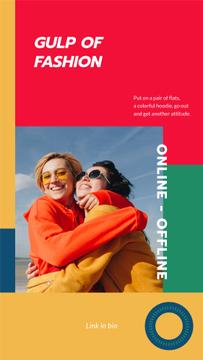 Fashion Collection ad with Happy Women hugging
