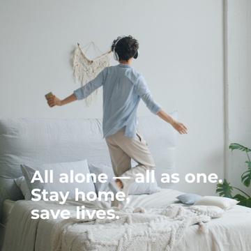 Woman having fun home alone