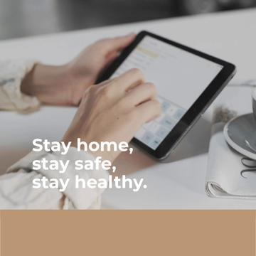 Tip to stay home with Woman using tablet