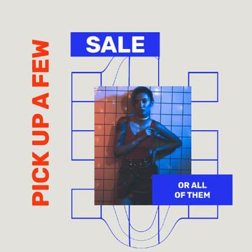 Fashion Sale with Stylish woman in neon lights