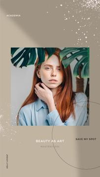 Beauty Masterclass Annoucement with Woman under Flower