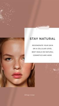 Cosmetics Offer with Girl without makeup