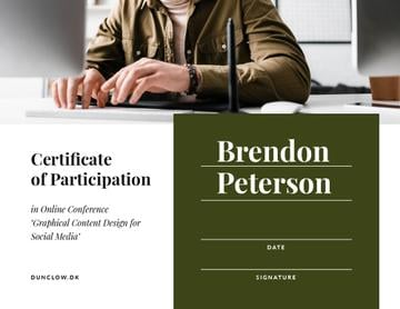 Online Conference Participation confirmation with man by laptop