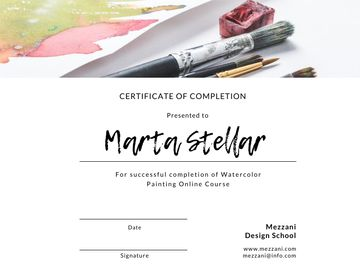 Watercolor Online Course Completion confirmation