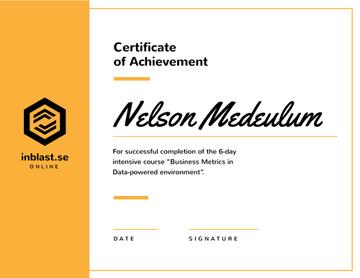 Business Course program Achievement in yellow
