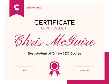 SEO Course program Achievement in pink