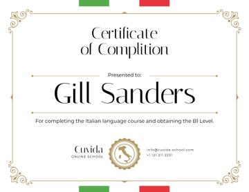 Italian Language School courses Completion confirmation