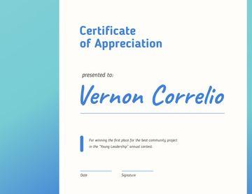 Leadership Contest Appreciation award in blue