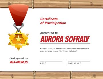 Games Speedrun Participation award with medal