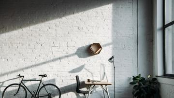 Cozy Home Workplace with Bike and Flower