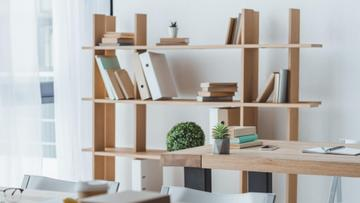 Cozy wooden Office with white walls