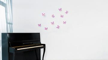 White room with Piano and Butterflies on Wall