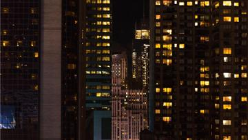 Night Landscape of modern city skyscrapers