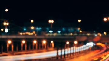 Glare lights of city Bridge